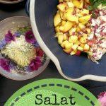 11.07.2017 – Tomate-Nektarinen-Salat mit in Rosenblüten mariniertem Mozzarella