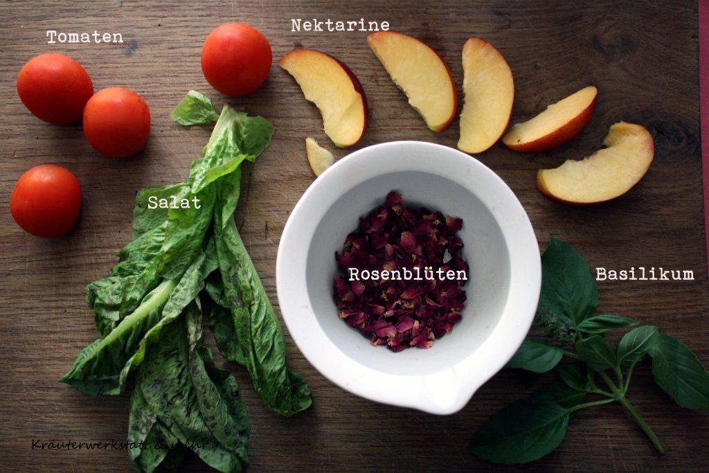Tomaten - Nektarinen Salat mit mariniertem Mozzarella